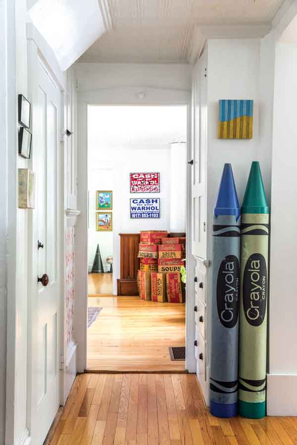 Gardiner artists Allison McKeen and Matt Demers play with cultural mash-ups, like the kitchen's advertising-display crayons and painting by Hallowell's Joshua Yurges and the dining room's Geoff Hargadon prints and stacks of cardboard soup boxes.