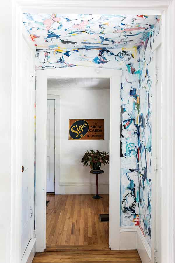 Demers transformed the front entry into an abstract painting during the pandemic shutdown last spring.