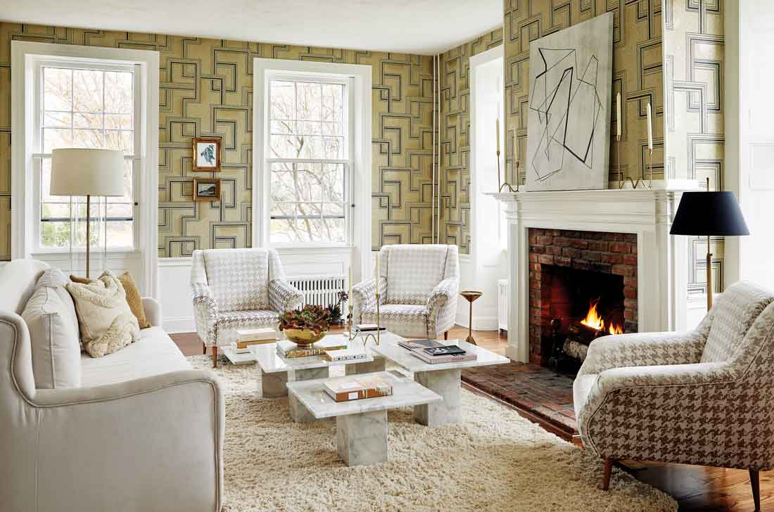Nobilis wallpaper, armchairs in Ashley Wilde fabric enliven the 1804 William Jefferds House.