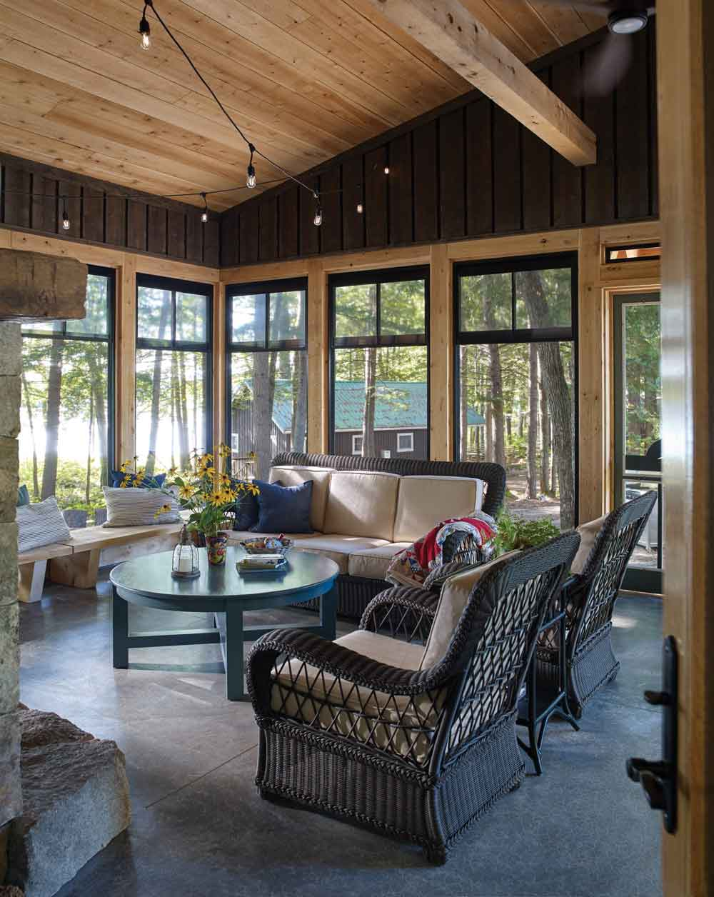 The Ritters' 570-square-foot screened porch