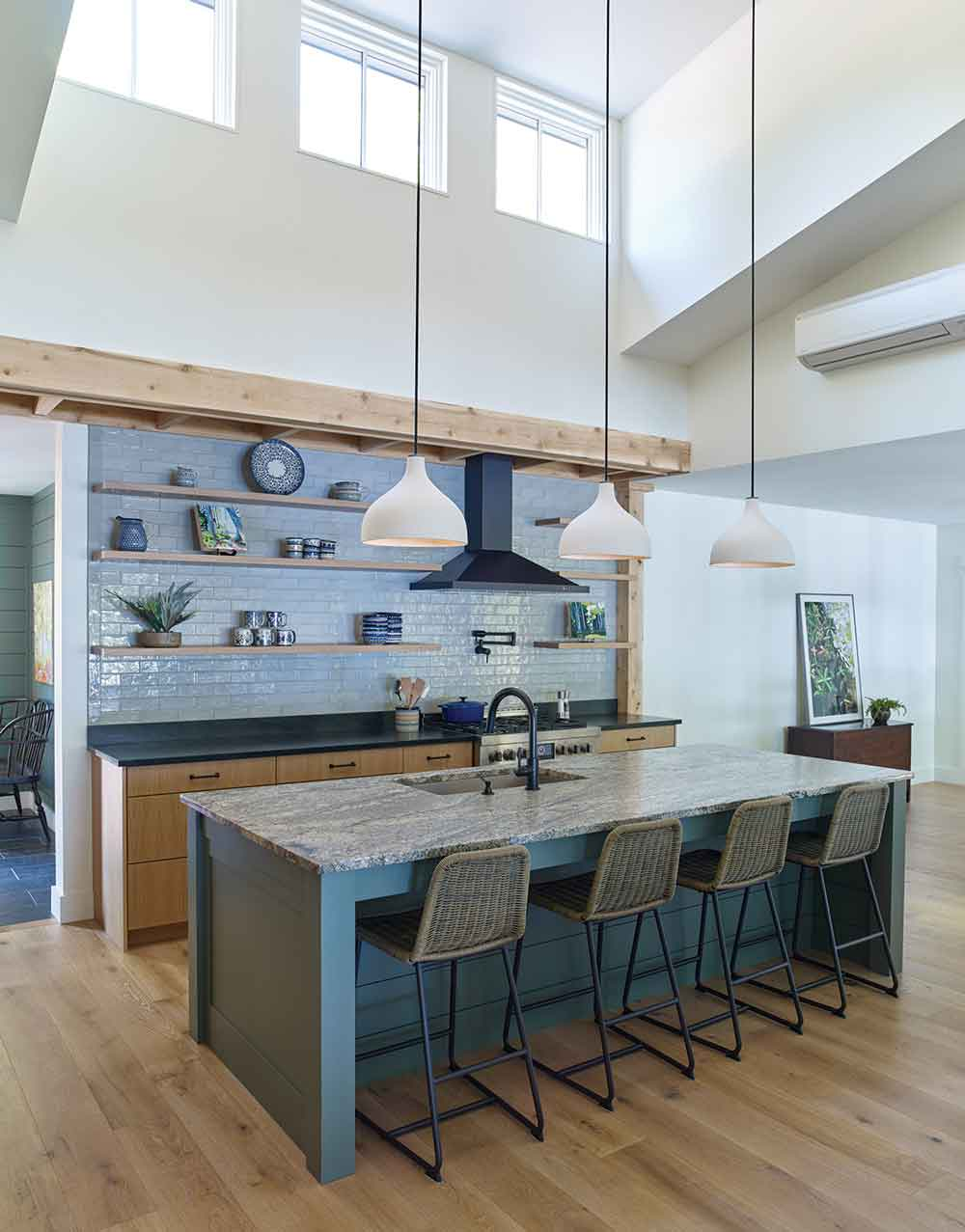 Sand and lichen shades from the beach and woods into the kitchen