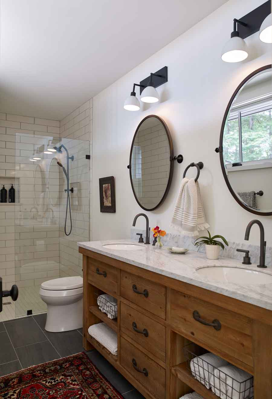 His and hers sinks in the owners' bath