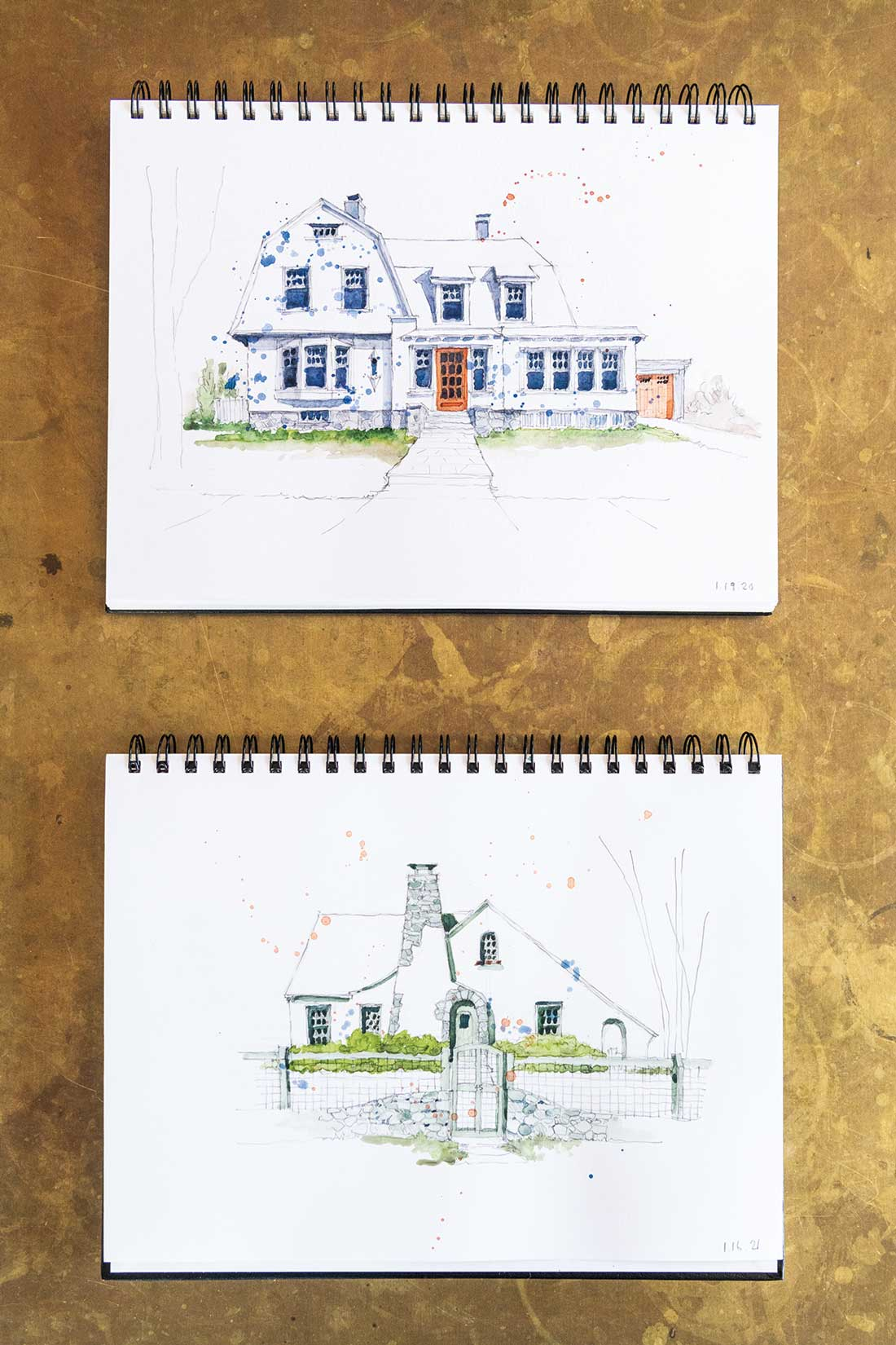 Two house portraits by David Duncan Morris