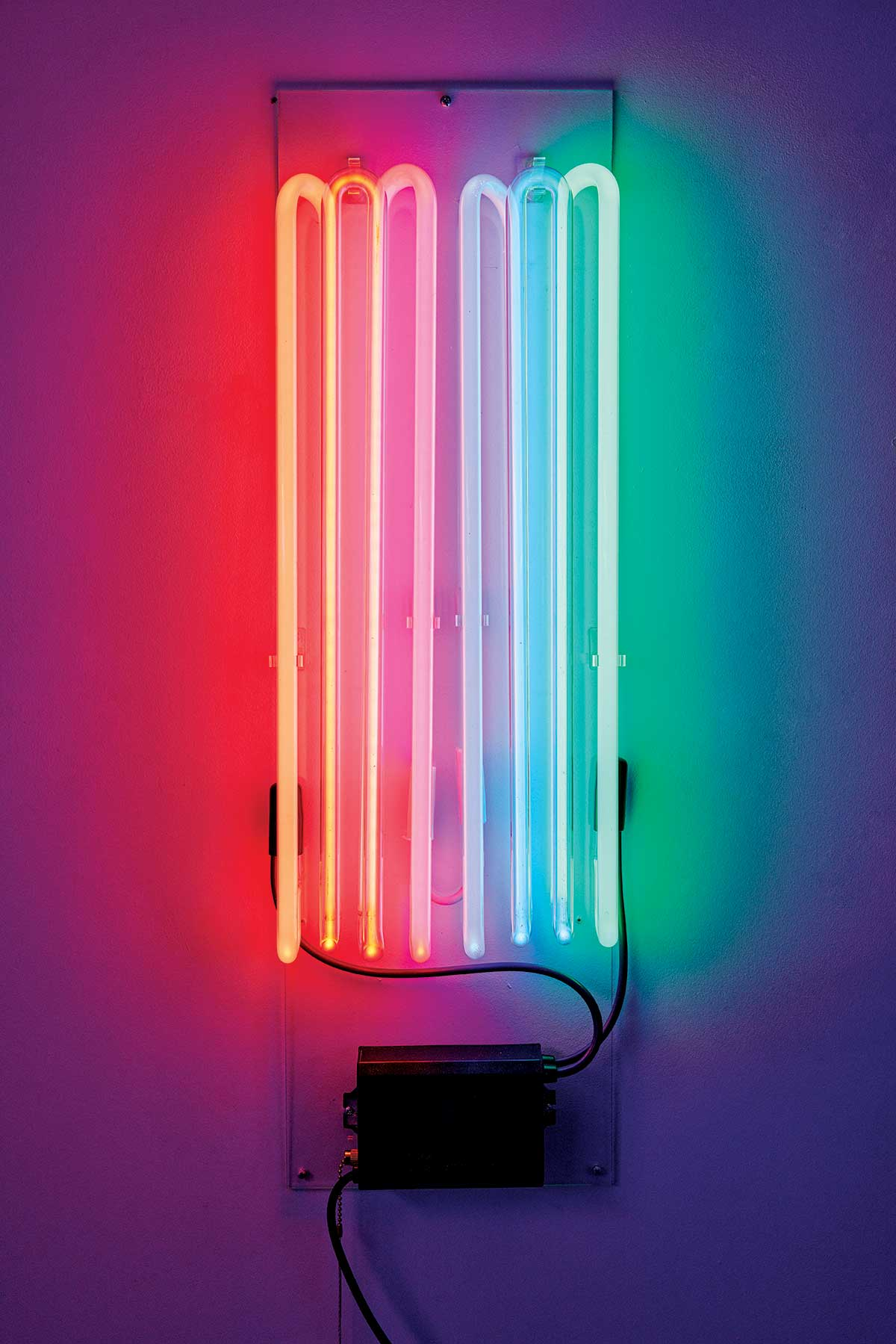 A sampling of neon tube colors in A hop-shaped neon light by Neon Dave's studio