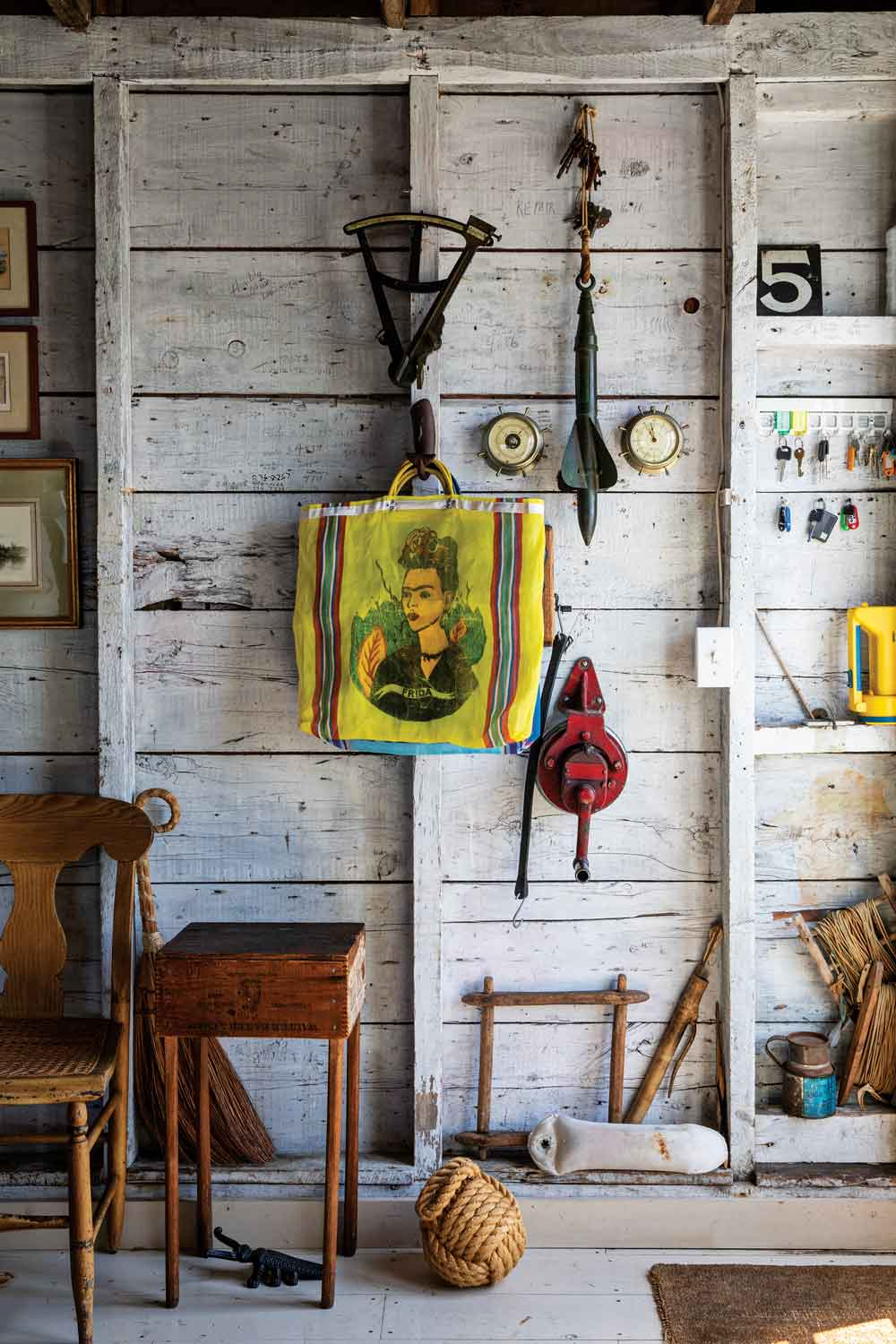 Some of the couple's beloved objects hang between studs