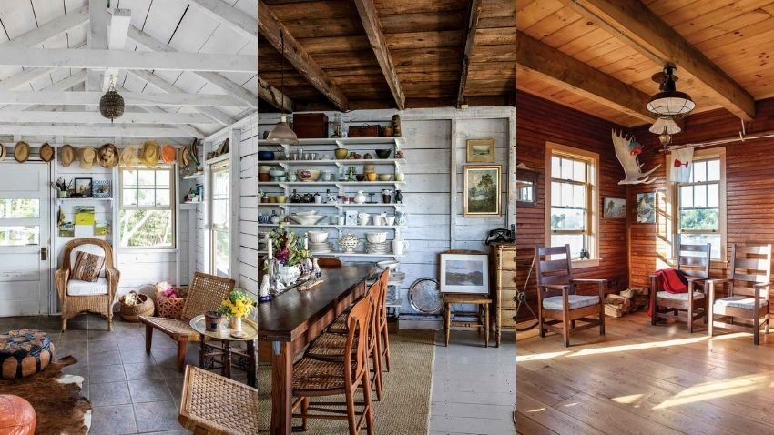 a few of the rooms featured in Maura McEvoy, Basha Burwell, and Kathleen Hackett's new book The Maine House