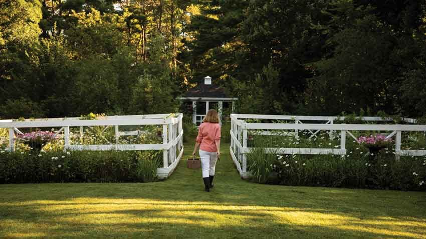 In Katy Gannon-Janelle's garden, fenced vegetable beds are tucked between perennial borders and a gazebo.