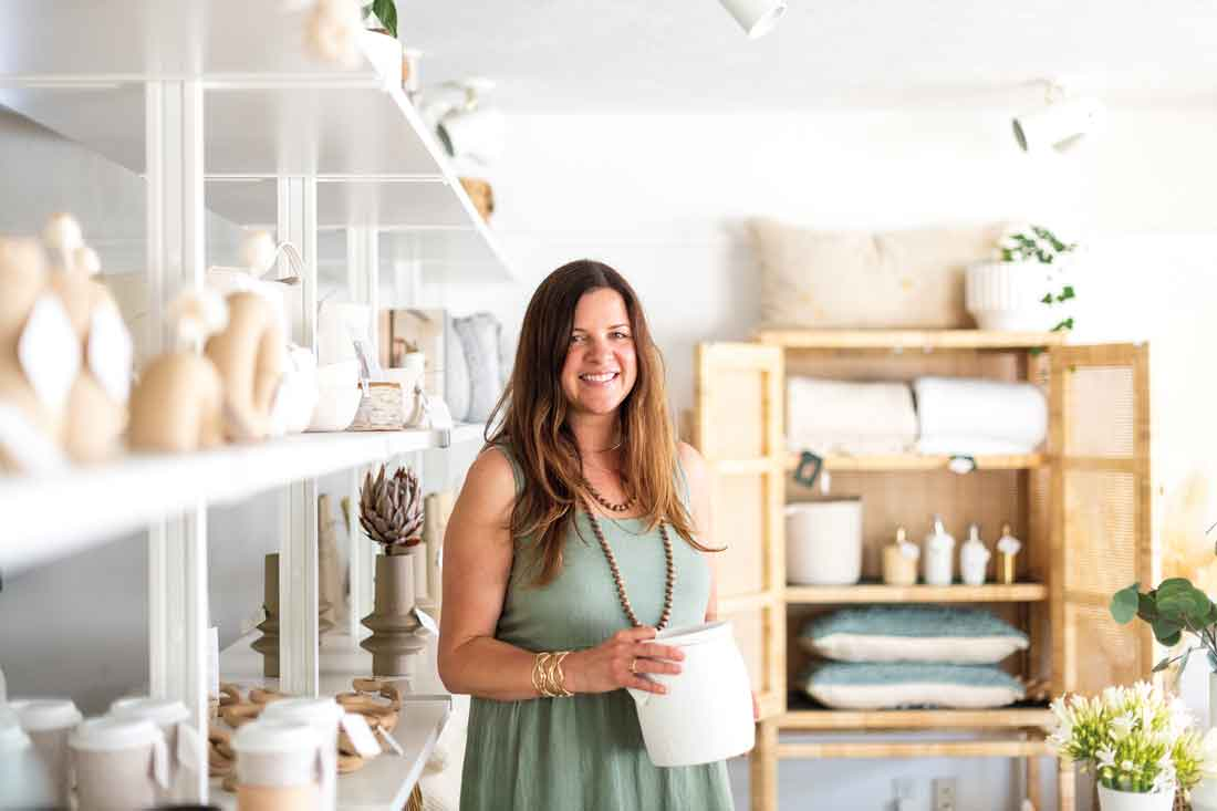Holly Gagne in her new shop in Camden, Maine