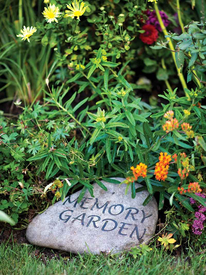 one of three memory gardens dedicated to deceased family members, friends, and pets