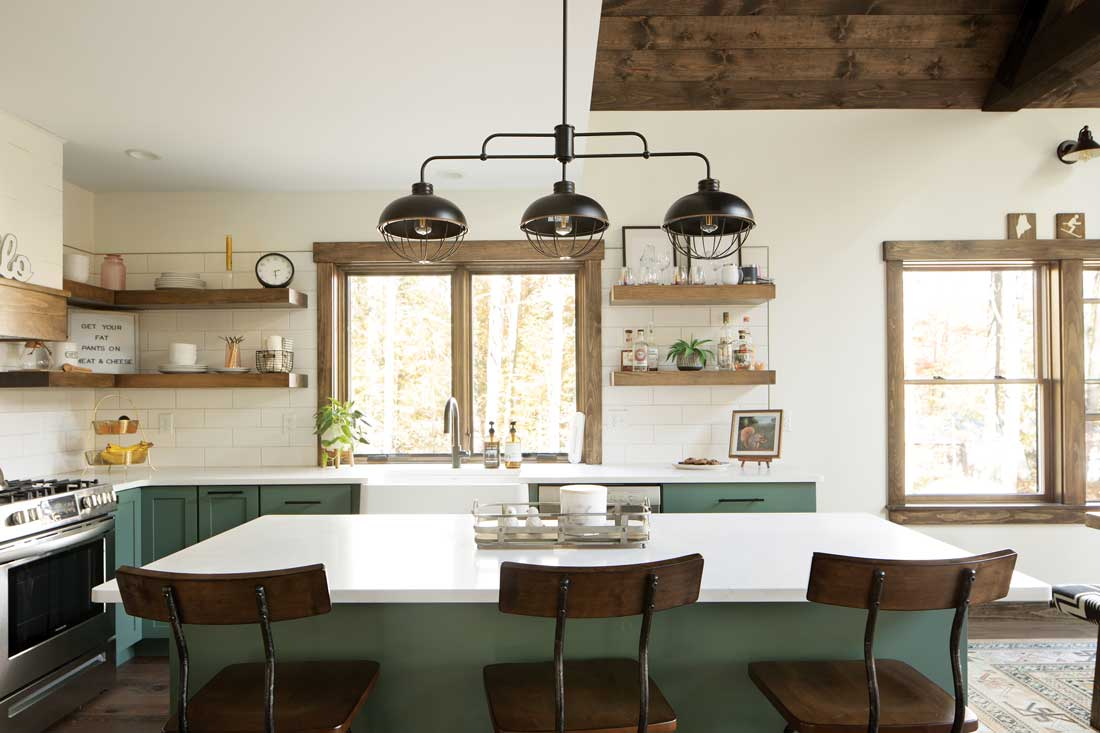 The LaCroixs worked closely with Bethel Kitchen Designs to outfit the cookspace, which features cabinetry in Jack Pine by Benjamin Moore
