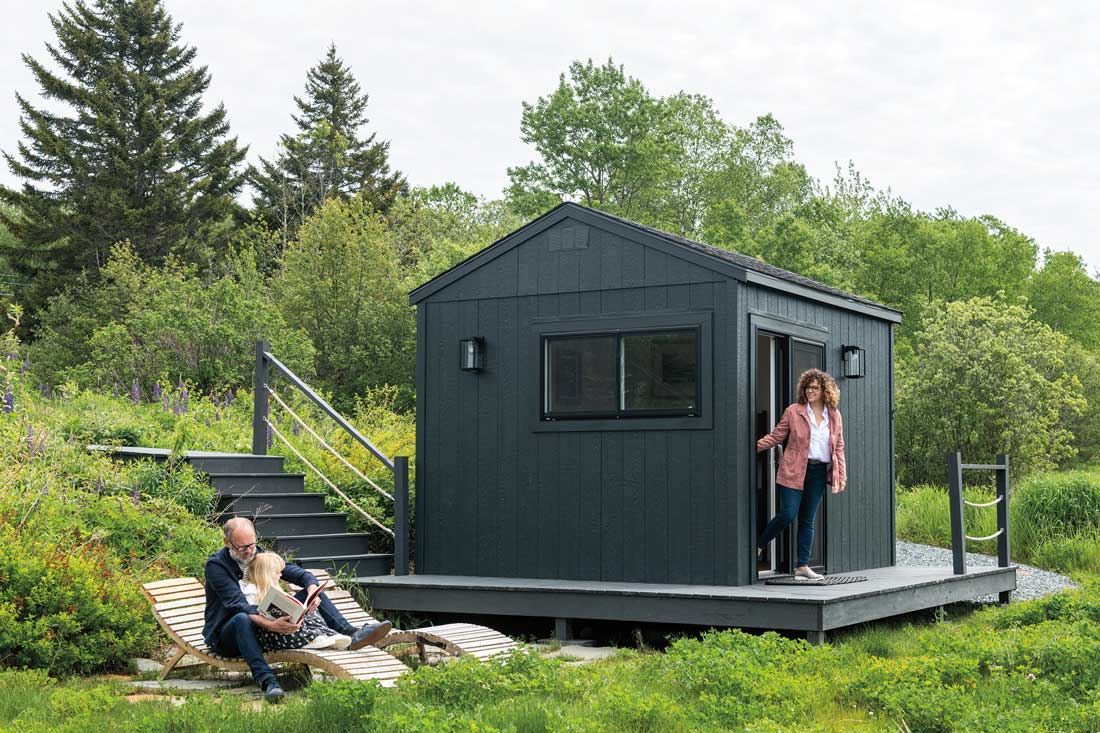 The bunkhouse is a black-painted Old Hickory shed.