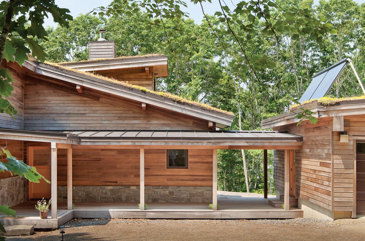 Designed by Briburn and built by Eastern Construction in Thomaston, this Bremen home is equipped with solar panels and a heat-absorbing vegetated roof.