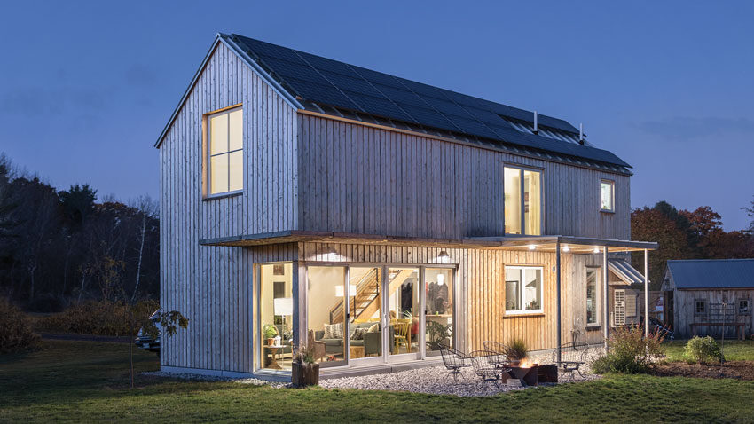A modest 1,100 square feet and sporting Maine-milled cedar siding and rooftop solar panels, this York home, designed by Portland's Caleb Johnson Studio, embodies several Pretty Good House principles.