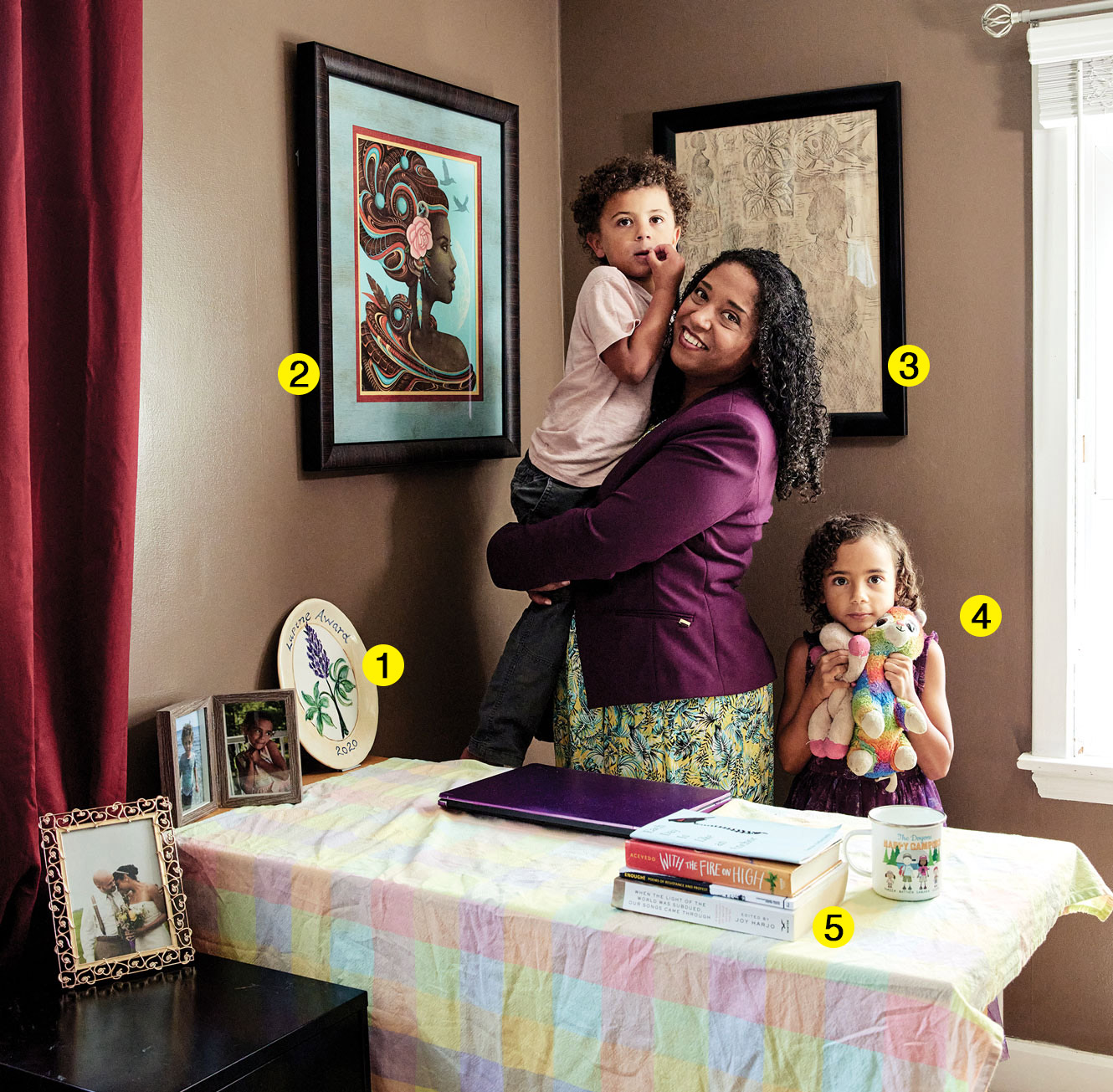 Samara Cole Doyon and family in her makeshift home office