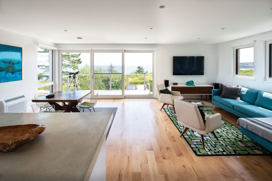 A sofa and rug from Portland's Youngs Furniture and Angela Adams define the living area.